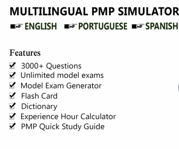 Multilingual online PMP Project Management Professional PMI exam simulator in English, Portuguese and Spanish