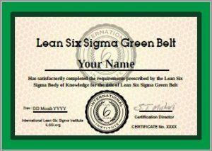 International Accredited Lean Six Sigma Green Belt Certificate